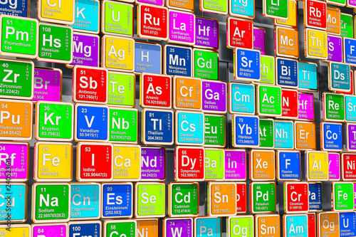 Cuadros en Lienzo Colored Periodic Table of the Elements, 3D rendering