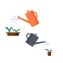 Old Watering Cans Of Different Colors And Shapes. Watering Pots With Plants From Watering Cans.