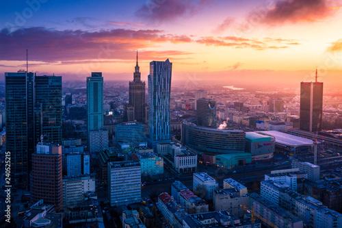 Obraz na plátne Warszawa z lotu ptaka