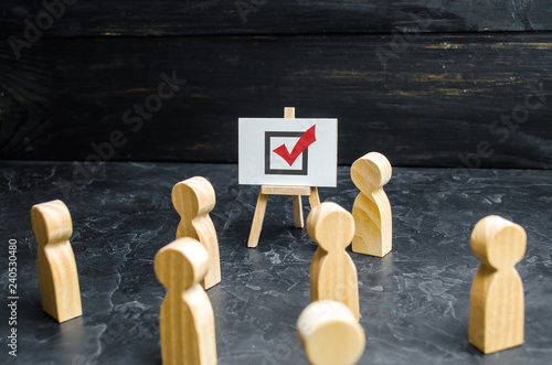Photo A person agitates people and employees to vote in an election or referendum