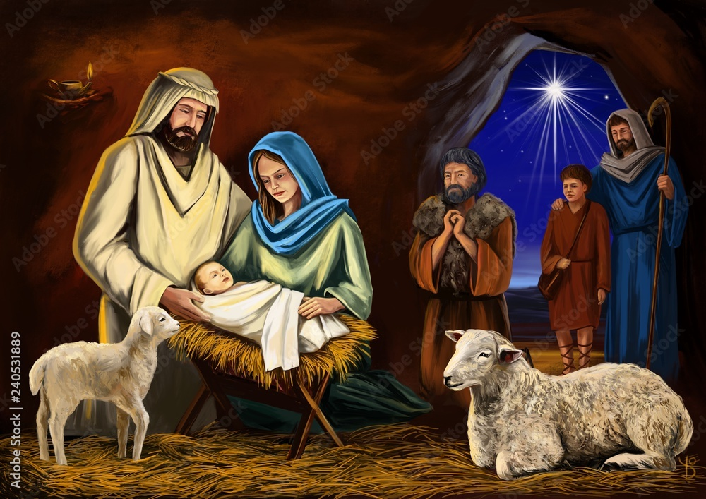Fototapeta Christmas story. Christmas night, Mary, Joseph and the baby Jesus, Son of God , symbol of Christianity art illustration hand drawn painted