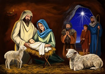 Christmas story. Christmas night, Mary, Joseph and the baby Jesus, Son of God , symbol of Christianity art illustration hand drawn painted