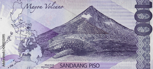 Whale shark on Philippine 100 peso (2015) bill, Philippines money currency close up Canvas Print