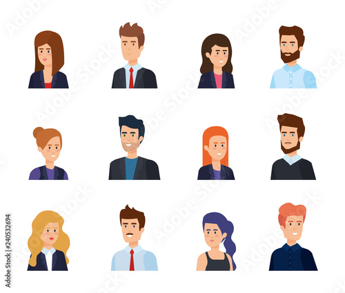 group of business people avatars characters