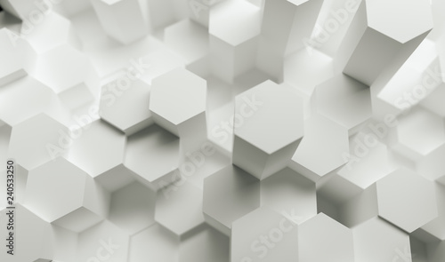 white abstract hexagons background pattern, gaming Concept image - 3D rendering - Illustration  #240533250