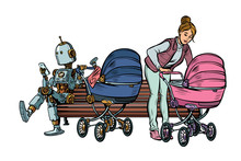 Young Mother And Robot With A ...