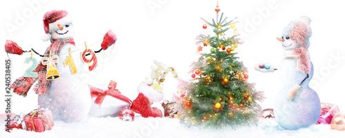 Cuadros en Lienzo Schneemann - Weihnachtsmotiv