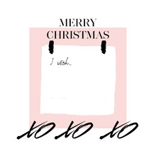 I Wish. Modern Abstract New Year Collage With Sticker, Note And Lettering Merry Christmas On Pink Background. Letter With Copyspace. Christmas Background. Vector Wishlist Design Layout
