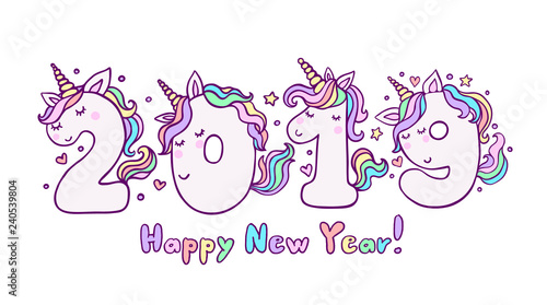 New Year 2019 With Cute Unicorn Numbers Vector Illustration