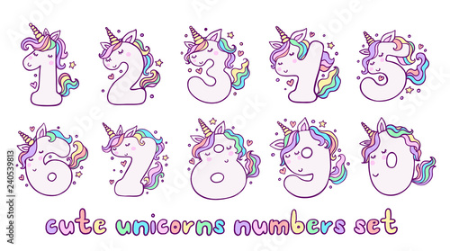 Fotografía Numbers With Cute Unicorns Character Vector Set