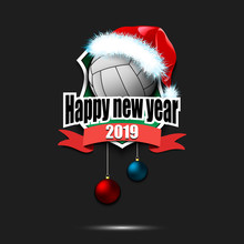 Volleyball Ball With Santa Hat And Happy New Year