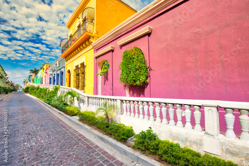 Fotografie, Obraz  Mexico, Mazatlan, Colorful old city streets in historic city center