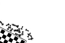 Symbol Of Competition. Chess Board And Chess Figures On White Background Top View Copy Space