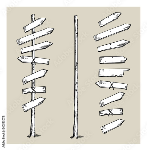Fotomural Wooden signpost with arrows, vector illustration