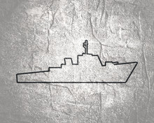 Silhouette Of Warship For Design And Creativity In Thin Line Style.