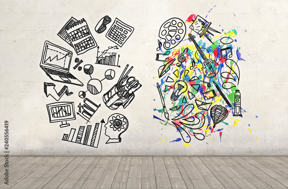 Fototapety, obrazy: Science and Arts sketch drawn on a plastered wall. Education concept.
