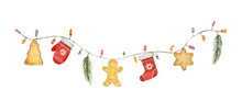 Watercolor Vector Christmas Garland With Lights And Gifts.