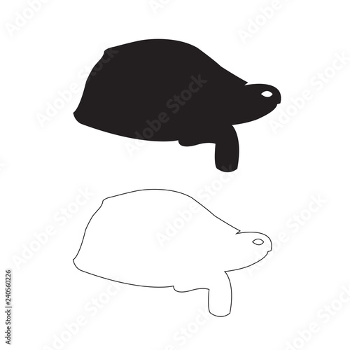Fotografie, Obraz  Tortoise silhouette, Outline Set Icon Vector