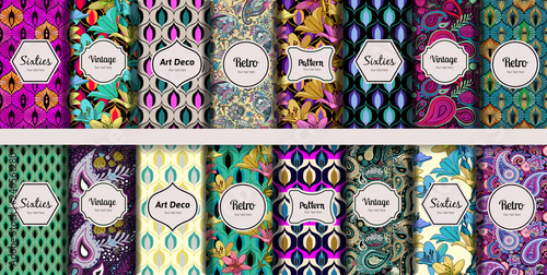 Cotton fabric Vintage seamless patterns