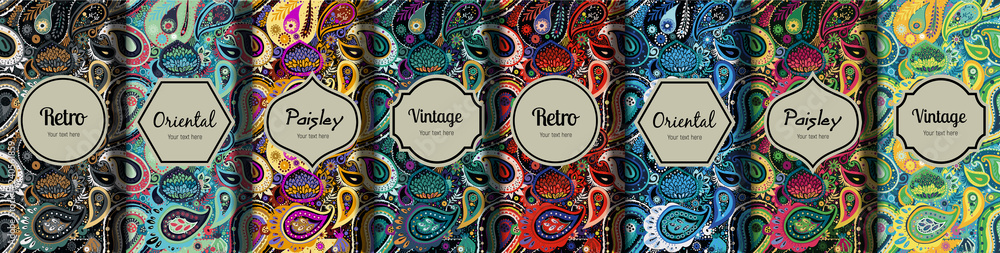 Fototapeta Set of seamless patterns in vintage paisley style.