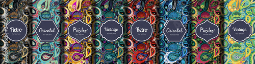 Deurstickers Kunstmatig Set of seamless patterns in vintage paisley style.