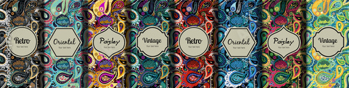 Fototapeta Set of seamless patterns in vintage paisley style.