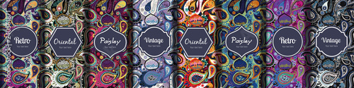 Poster Artificiel Set of seamless patterns in vintage paisley style.