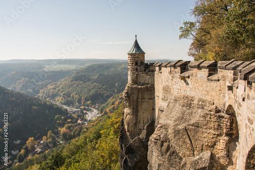 Tablou Canvas Landscape of konigstein fortress Saxon Switzerland, autumn traveling in Saxon Ba