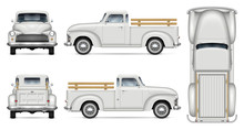 Old Truck Vector Mockup On Whi...