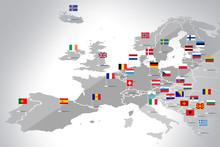 Mapa Europy Z Flagami Państw
