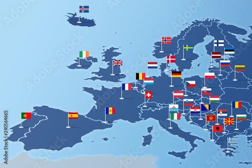 Fotografie, Obraz  Europa Infografika z flagami państw