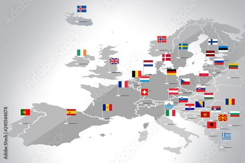 Fotografie, Obraz  Mapa Europy z flagami państw