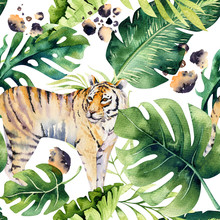 Seamless Watercolor Animal Tiger Pattern With Tigers With Tropical Leaves, Aloha Jungle Hawaiian. Hand Painted Palm Leaf. Texture With Tropic Summer Background, Paper, Textile Or Wallpaper Design.
