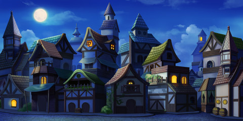 Small Fairy Tale Town Night. Fiction Backdrop. Concept Art. Realistic Illustr...