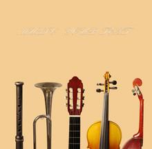 Musical Instruments On A Light Background. Flute, Guitar, Violin, Trumpet, Mandolin.