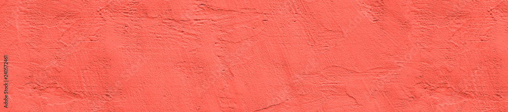 Fototapety, obrazy: panorama color living coral  concrete wall  texture with plaster