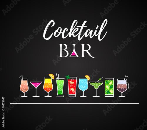 Fotografía  Cocktail icons. Cocktail menu