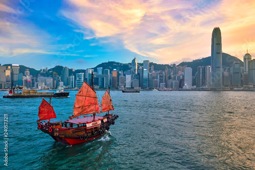 Junk boat in Hong Kong Victoria Harbour Canvas Print