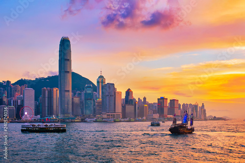 Junk boat in Hong Kong Victoria Harbour Wallpaper Mural