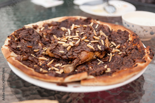 A Palestinian dish called musakhan served at a cafe in old Dubai