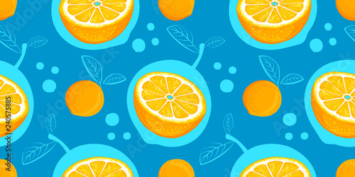 fototapeta na ścianę Orange vector seamless pattern. Sketch oranges. Citrus fruit background. Elements for menu, greeting cards, wrapping paper, cosmetics packaging, posters etc