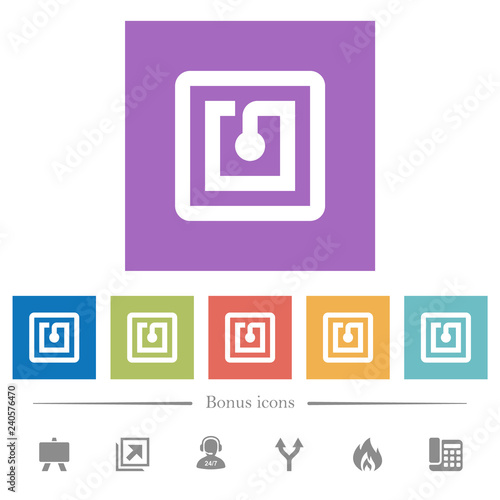 Photo  NFC sticker flat white icons in square backgrounds