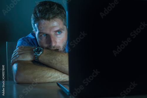 young aroused and excited sex addict man watching porn mobile online in laptop c Wallpaper Mural