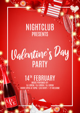 Holiday Party Flyer For Happy Valentine's Day. Vector Illustration With Top View On Realistic Bottle Of Champagne, Gift Boxes, Glasses Of Champagne And Red Serpentine. Invitation To Nightclub.