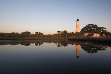 Moon Set At St. Marks Lighthouse; St. Marks National Wildlife Refuge, Florida