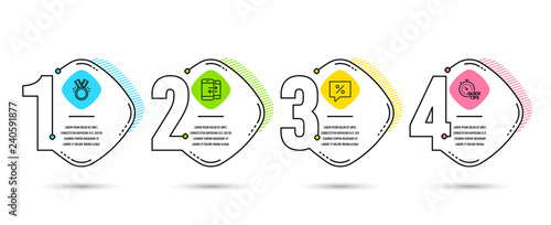 Fényképezés  Infographic timeline set of Discount message, Phone communication and Honor icons