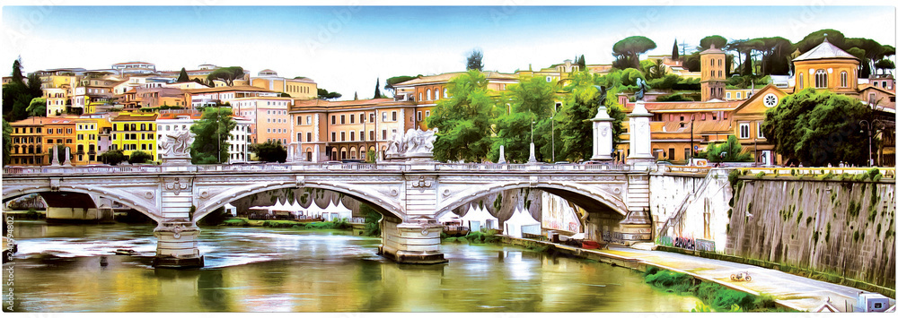 Drawing of the architecture of Rome on the background of the bridge. Panorama