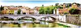 Rysunek architektury Rzymu na tle mostu. Panorama - 240594802