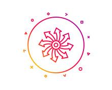 Versatile Line Icon. Multifunction Sign. Gradient Pattern Line Button. Versatile Icon Design. Geometric Shapes. Vector