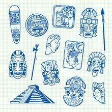 Vector Cartoon Summer Travel Elements Tiki Mask Of Set Isolated On Blue Cell Sheet Background Illustration
